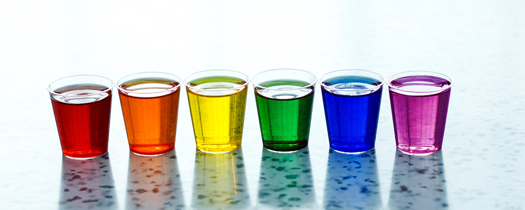Rainbow colored shots in a row.