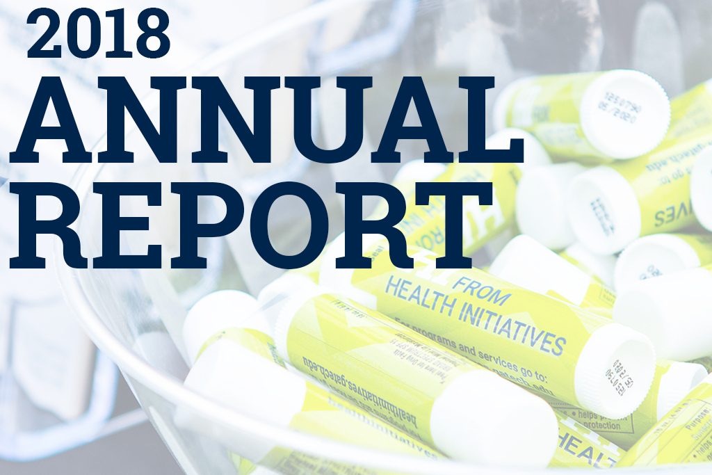 2018 annual report over bowl of chapsticks
